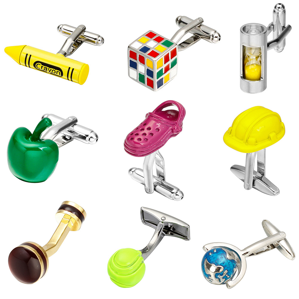 MeMolissa Free Shipping 18 Designs Crayon/Animal/Airplane/Earth/Cube Design Multicolor Pop Cufflinks High Quality Cuff Links image