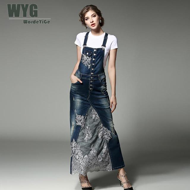 e1e793b2d0e Для женщин платье из джинсовой ткани 2017 лето-осень Повседневное Мода  Цветочная вышивка кружевом пэчворк