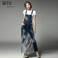 Women Denim Dress 2017 Summer Autumn Casual Fashion Floral Lace Embroidery Patchwork Suspenders And White Cotton T Shirts
