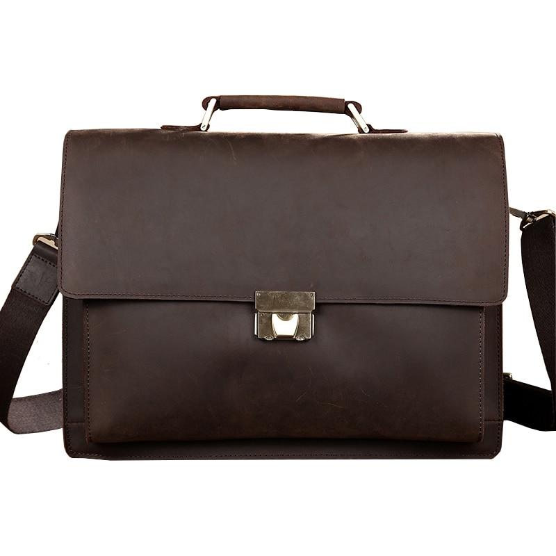 все цены на Classic Vintage Genuine Leather Business Briefcase Men's Handbag Messenger Bags 14 inch Laptop Computer Shoulder Bag онлайн