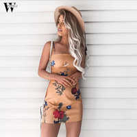 WYHHCJ 2017 Summer Style Fitness Women Sexy Floral Print Mini Dresses Casual Backless Sleeveless Dress
