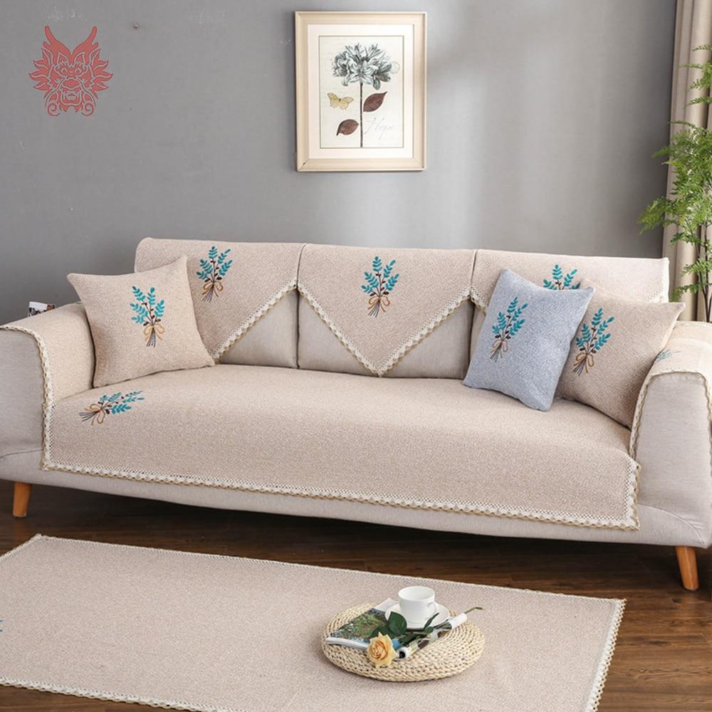 Elegant Floral Embroidery Grey Beige Cotton Weaving