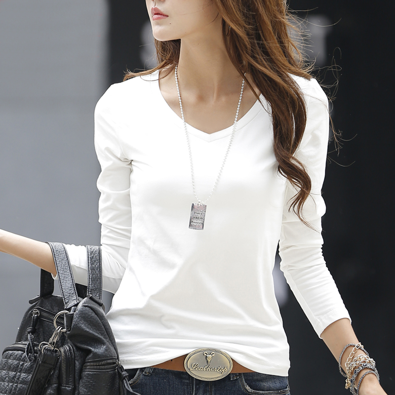 2017 New Spring White Long Sleeve T Shirt Women Solid
