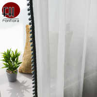 Solid Green Sheer Curtains For Living Room Bedroom White Tulle Curtains Voile Wedding Backdrop Cotton Fabric Short Curtains