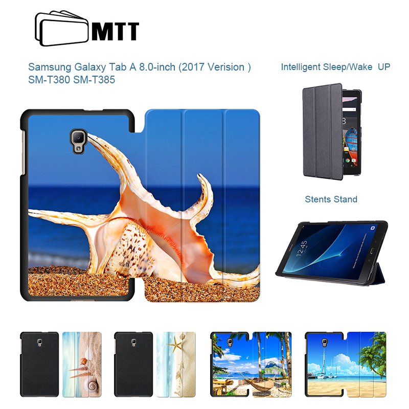 Fashion Beach Conch Cover For Samsung Galaxy Tab A 8.0 2017 T380 T385 SM-T385 Magnetic Stand PU Leather Case Tablet funda cases cartoon colorful case for samsung galaxy tab a 8 0 t380 sm t385 2017 smart cover funda tablet stand pu leather shell film pen