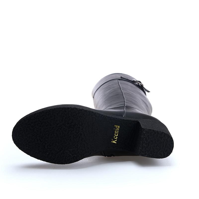 D'hiver Chaussures Noir Boucle Genou Mode Chunky Hiver Kcenid Qualité Talons Véritable Haute En Cuisse Femme Bottes Cuir IqqTO