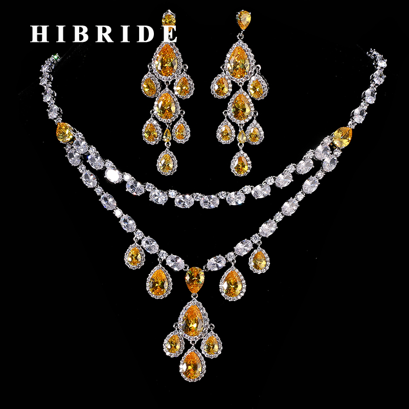 HIBRIDE New Design Clear Champage Cubic Zircon Bridal Jewelry Sets Water Drop Pendant Necklace and Earring For Female N-191 lacquered shell goegtu peony style protective abs back case for iphone 4