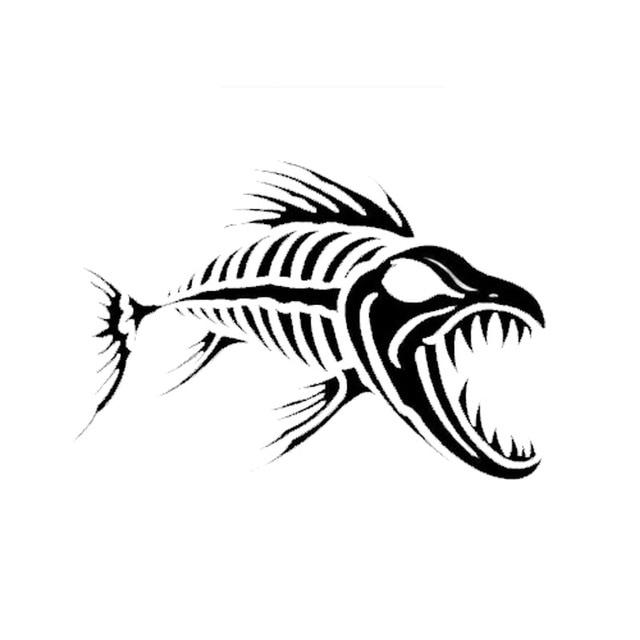 12 7 8 7 Cm Skeleton Tulang Ikan Vinyl Decal Keren Lucu Kartun