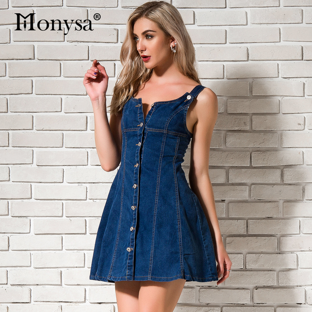 97d72ea3f78 Blue Denim Dresses For Women Summer 2018 Newest Sleeveless Button Dress Fit  and Flare Casual Streetwear Jean Dress Backless