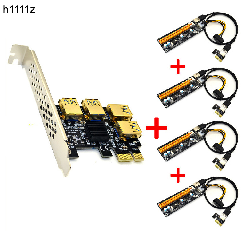 Riser USB 3.0 PCI-E Express 1x to 16x Riser Card Adapter PCIE 1 to 4 Slot PCIe Port Multiplier Card for BTC Bitcoin Miner Mining 4 slots pci e 1 to 4 pci express 16x slot external riser card adapter board pcie multiplier card for btc miner