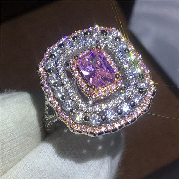 925 sterling silver pink multi color princess cut zircon engagement ring for women female finger lady party gift r4993-in Engagement Rings from Jewelry & Accessories on Aliexpress.com | Alibaba Group