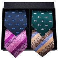 Hi Tie Luxury Silk Men Tie Set Animal Designer Blue Green Fashion Wedding Party Men's Ties & Handkerchiefs Cufflinks Set Necktie