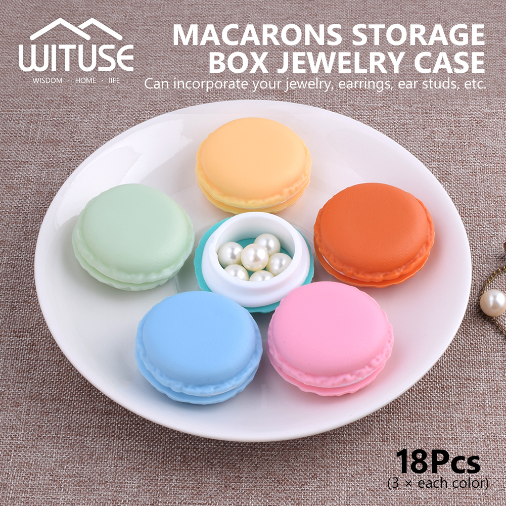 18 Pieces Portatable Candy Color Mini Macarons Gift Package Box Storage Case Organizer Pill Jewelry Earphone Case Gift Box