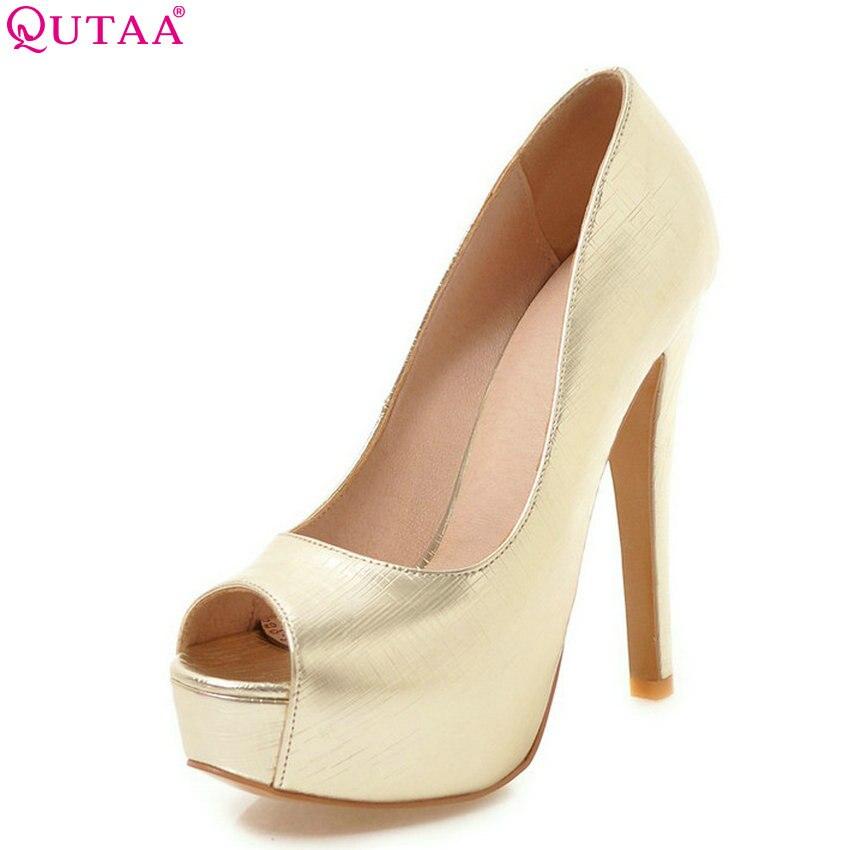 QUTAA 2018 Women Pumps Party Style Fashion Pu Leather Slip on Peep Toe Super Thin High Heel Platform Women Pumps Size 34-43 цена