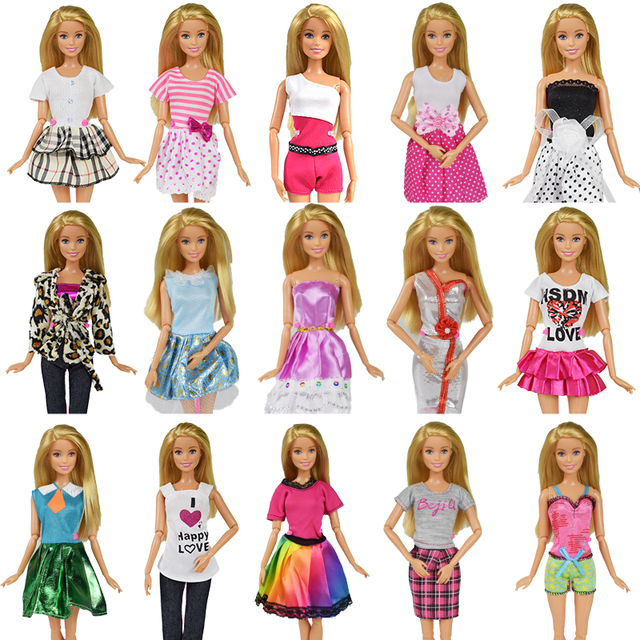 9 Item/Set Boneca Acessórios = 3 Pcs Roupa Da Boneca Vestido + Óculos + Aleatória 3 3 Pares Sapatos para Barbie Doll Girl Toy O Melhor Presente