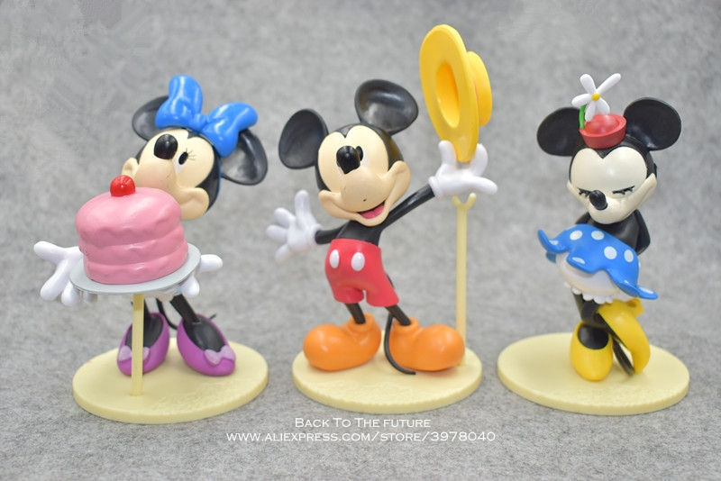 Disney Mickey Mouse Minnie 6pcs/set 12cm Action Figure Posture Anime Decoration Collection Figurine Toy model for children gift