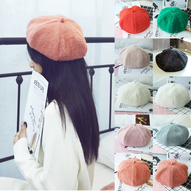 75b10d45919 England Hairy Wool Beret Hat Women French Cap 2018 Autumn Winter Knitted  Warm Baret Caps Boina Korean Ladies Solid Painter Hats