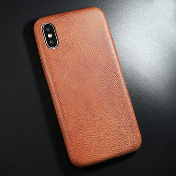 PU Leather iPhone X Case Brown