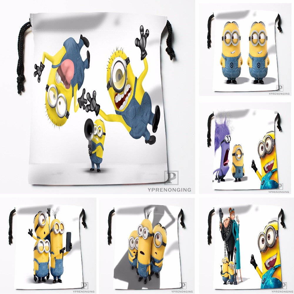 Custom Minions Despicable Me Drawstring Bags Travel Storage Mini Pouch Swim Hiking Toy Bag Size 18x22cm#0412-03-51