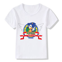 Children's fashion sonic hedgehog cartoon design funny T-shirt boy girl jacket cotton round neck T-shirt casual kids clothes(China)