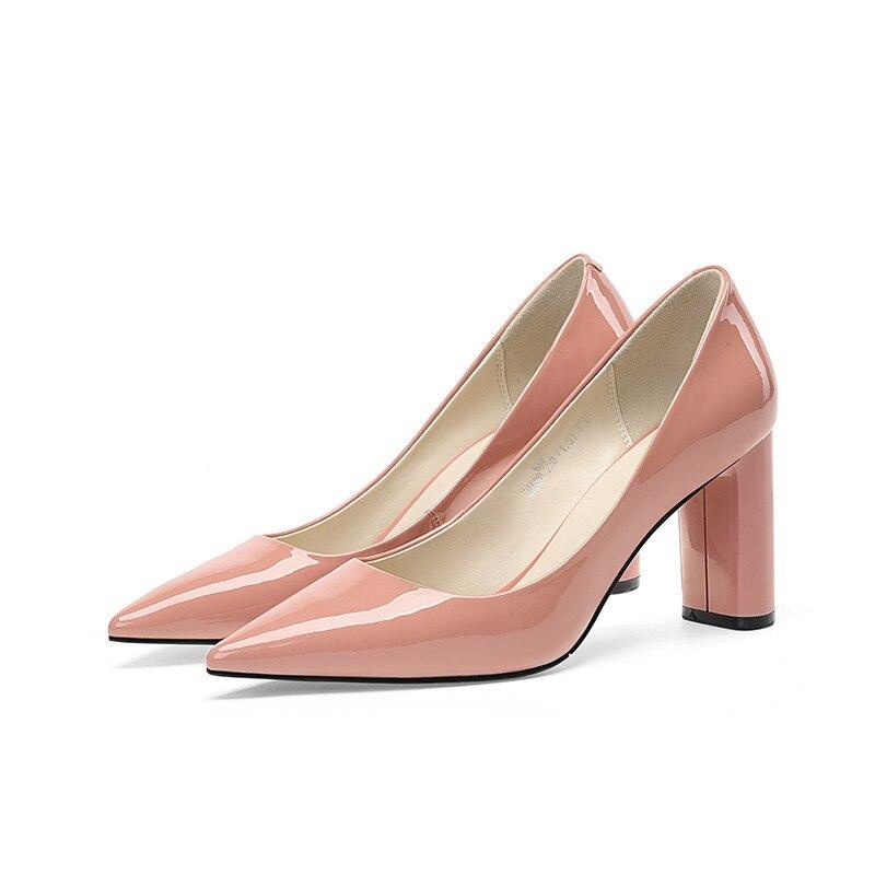 Caliente Punta Las Baja Zapatos Asumer Boda Mujeres 2019 Beige Bombas Genuino Venta negro Mujer Nuevas Alto Cuero rosado Tacón De qvzvES