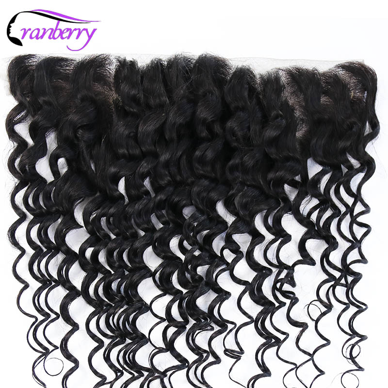 CRANBERRY Hair Deep Wave 13*4 Lace Frontal Closure Free Part Remy Hair Natural Black Ear To Ear Brazilian Human Hair Closure