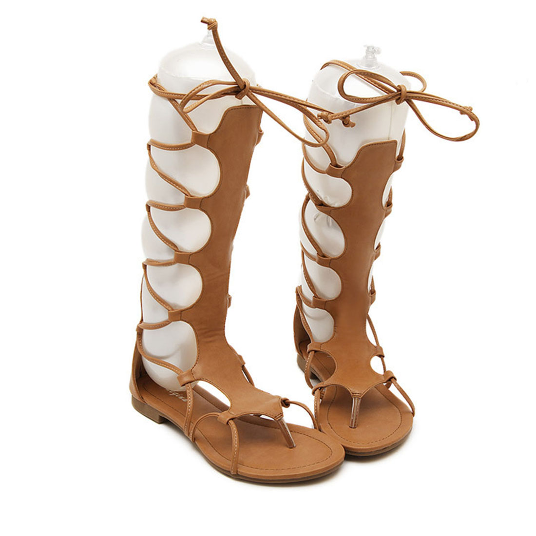 2017 Sexy Open Toe Lace Up Cut Out Gladiator Sandals black brown Flat Heel Knee High Sandal Summer shoes women flip flop sandals  2017 newest summer black brown leather sandal for woman sexy open toe flat crystal sandal sequins bead t strap buckle shoes