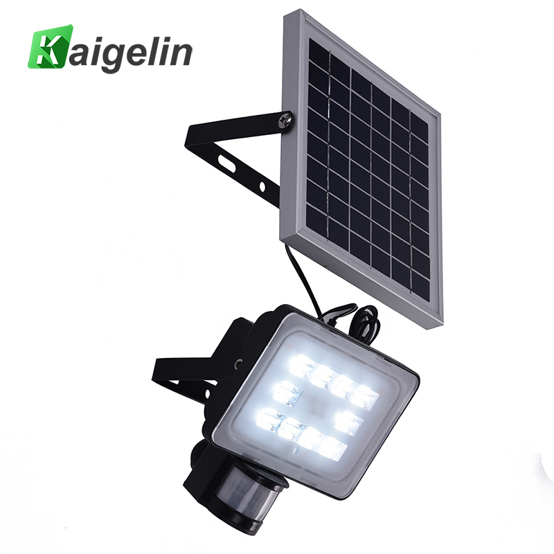 2 Pcs 20W 12V PIR Solar Motion Sensor LED Flood Light 2400LM Solar Lamp IP65 SMD2835