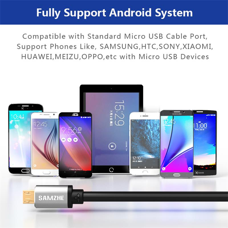 SAMZHE USB2 0 Micro USB Cable Aluminum Shell USB Andorid Fast Charging Cable 0 25 0 5 1 1 5 2M for XIAOMI HUAWEI SAMSUNG in Mobile Phone Cables from Cellphones Telecommunications