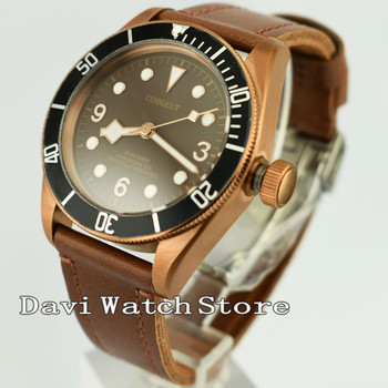 Corgeut 41mm Retro black bezel coffee Dial Automatic Wrist Watch 2641