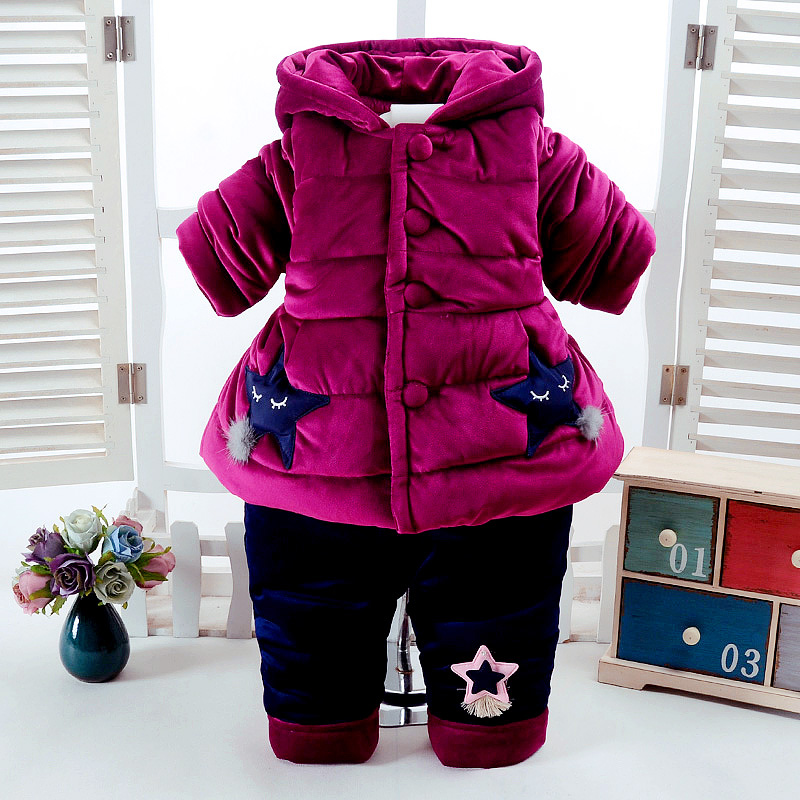 2Pcs/Set Winter Baby Girls Clothes Newborn 0-2 Years Add Cotton-Padded Super Warm Long Sleeve+Pant Infant Clothing Star Design cotton baby rompers set newborn clothes baby clothing boys girls cartoon jumpsuits long sleeve overalls coveralls autumn winter