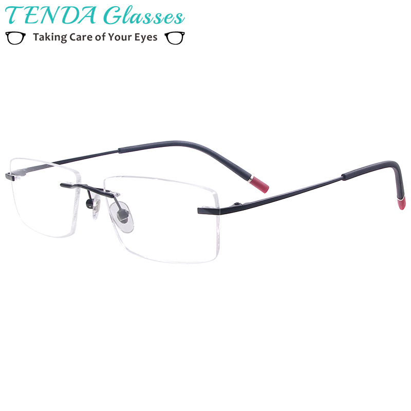 Men And Women Fashion Rectangular Rimless Eyeglasses Metal Prescription Glasses Frame For Optical Lenses Myopia Presbyopia