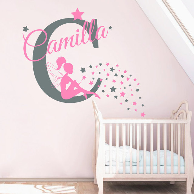 Nom Personnalise Stickers Muraux Fee Autocollant Nursery Bebe Fille
