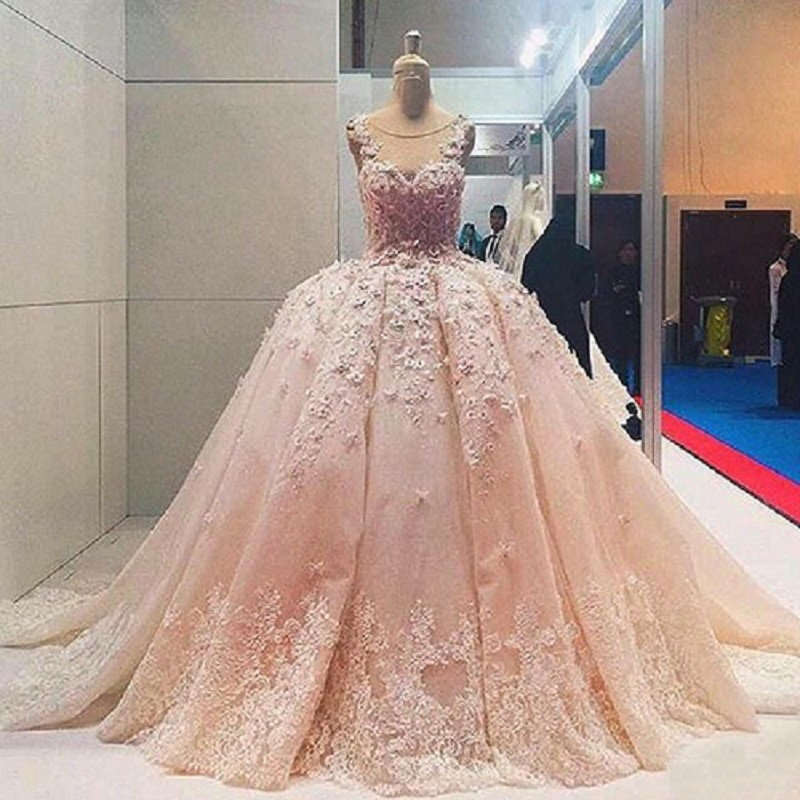 21cb64366d Luxury 2017 Pink Wedding Dresses With Lace Crystal Bling Long Sleeve Court  Train Applique Ball Gown Bridal Dress Gorgeous