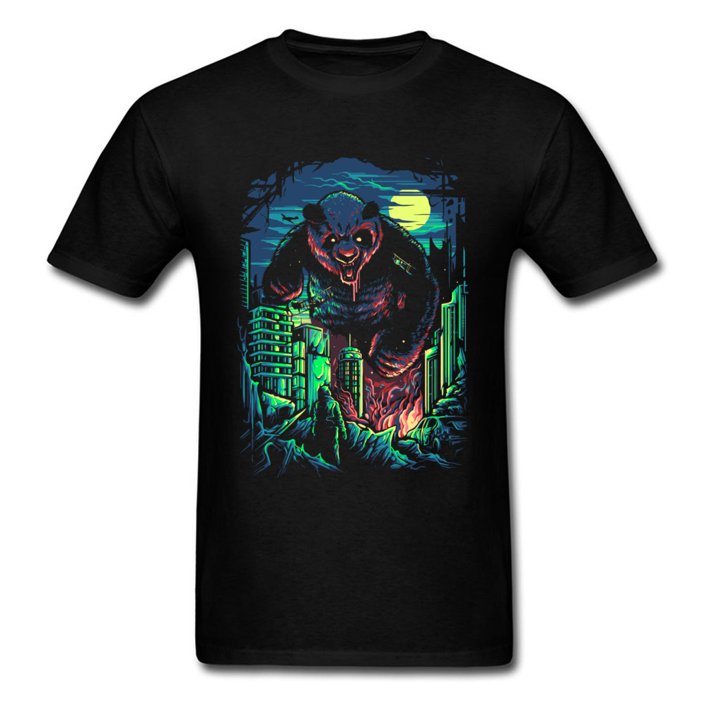 Satanic Panda Zombie Tshirts Bloody Ghost Horror Night T Shirts Foo Fighter Day of the Dead 100% Cotton Comics T Shirt Men image