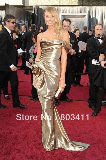 ba26c3fa6e0 Freeshipping Custom-made Stacy Keibler 84th Oscar Awards Dress Gold  Celebrity Dress