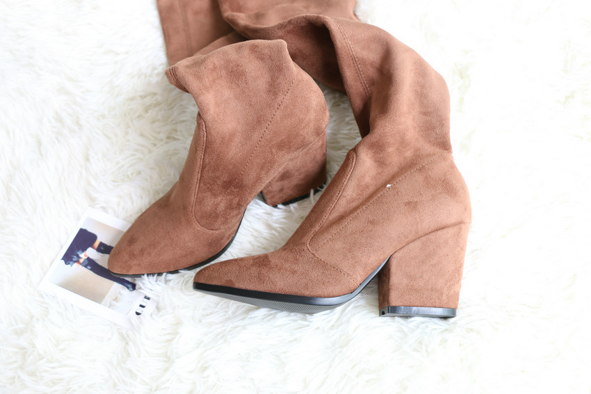 Women Hoof Heels Winter Shoes Pointed Toe Sexy Elastic Fabric Boots 32