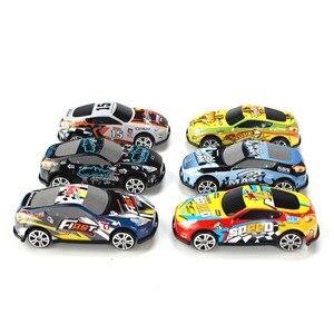 Image 4 - Conjunto de 6 unidades de Mini coche de dibujos animados, molde de juguete para coches de aleación, vehículos fundidos a presión para niños, juguetes de bolsillo, regalo para guardería