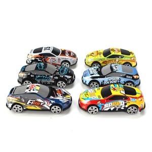Image 4 - Ensemble de Mini voiture de dessin animé, 6 pièces/ensemble, voitures en alliage, véhicules, jouets de poche pour enfants, modèle pour chambre denfant, cadeau