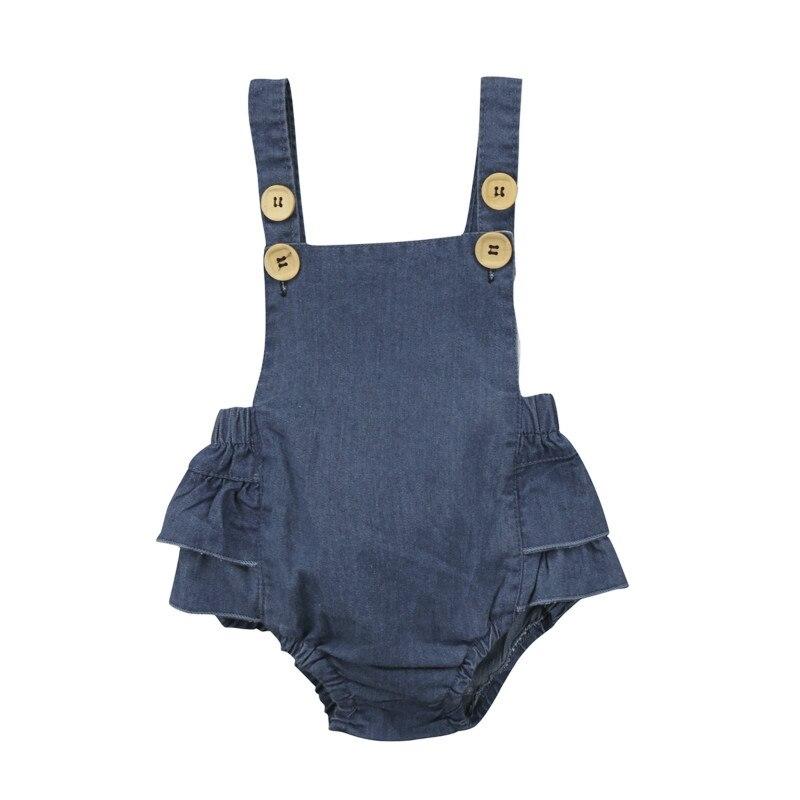 Summer Infant Newborn Baby Girls Kids Jeans Denim Ruffles Lace One-Piece Bodysuit Playsuit Jumpsuit Tops Sunsuit Clothes Outfits