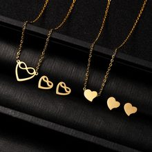 Rinhoo 1 set Gold Stainless Steel Heart/Butterfly/Cat Shape Pendant Necklace And Stud Earrings Jewelry Set For Women's Gift(China)