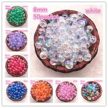 NEW 50pcs 8mm AB Color Round Acrylic Bead Loose Spacer Beads For Jewelry Making DIY Bracelet(China)