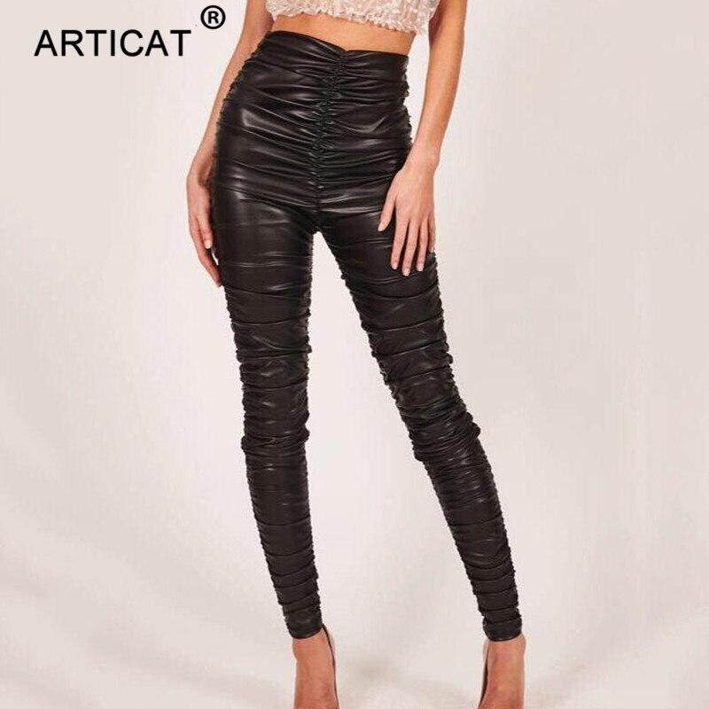 Женские кожаные брюки-карандаш Articat, черные плиссированные эластичные облегающие брюки из искусственной кожи с высокой талией, уличные обт...