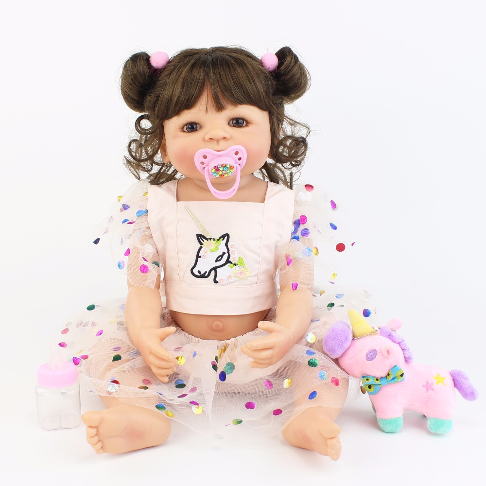55cm Full Silicone Body Reborn Baby Doll Toy Lifelike Unicorn Clothes Vinyl Newborn Princess Toddler Babies