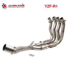 Alconstar- Stainless Steel Motorcycle Exhaust Middle Pipe For YAMAHA YZF-R1 2015-2017 Front Pipe Tube Full System with Sensor цена в Москве и Питере
