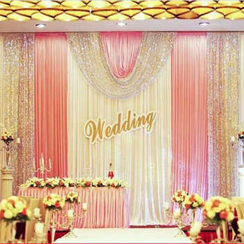 10x20ft party stage backdrops for wedding decoration background curtains silver sequin backdrop with swags - DISCOUNT ITEM  10% OFF All Category