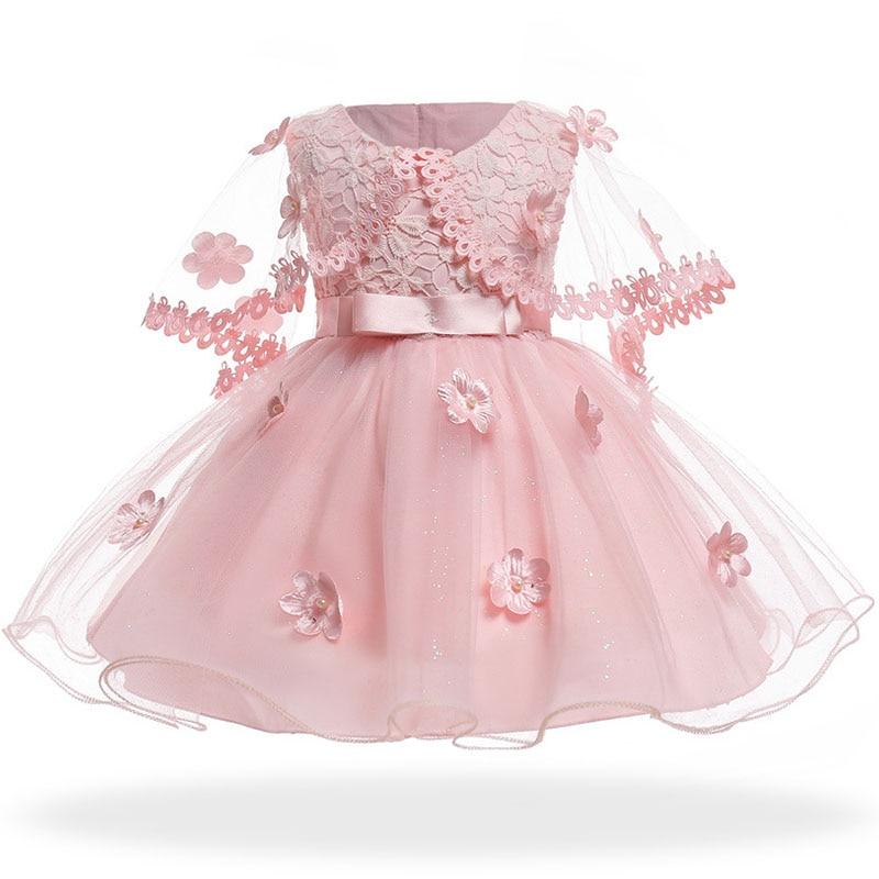 Pink Flower Infant Dresses Princess Baby Christening Dress + Shawl Baptism 1st Birthday Wedding Party Dresses Baby Girl Easter