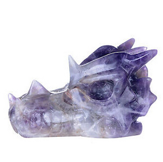 Natural Amethyst Cluster Carved Dragon Skull Head Healing Reiki
