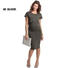 Elastic Tencel Summer Elegant Office Lady Maternity Dress and Nursing Dress