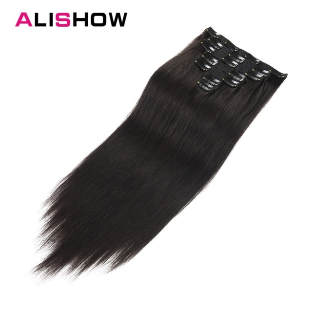 Alishow Human Hair Extensions Clip In Remy Hair Full Head Double
